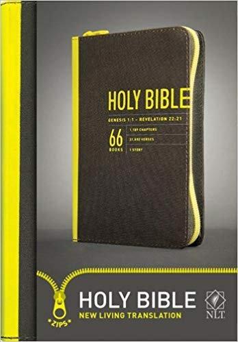 BIBLE NLT COMPACT ZIP 143 Black Canvas 6.19 PT