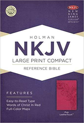 NKJV Compact Large Print Reference Pink Leathertouch 472