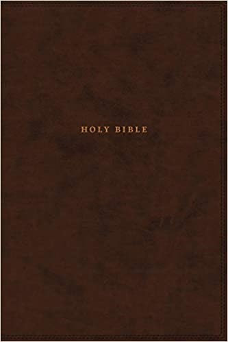 BIBLE NKJV REF INDEX 674 BROWN LEATHERSOFT CENTER COLUMN VERSE BY VERSE RL 11 PT