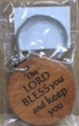 KEYCHAIN -  LORD BLESS YOU GK05-357A WOOD ROUND 2 SIDED