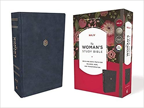 BIBLE NKJV WOMANS STUDY INDEX 512 Navy Leathersoft  RL 10.5 PT