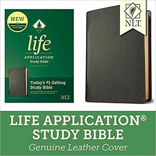 BIBLE NLT LIFE APPLICATION INDEX BLACK GENUINE  8.5 PT 3RD ED