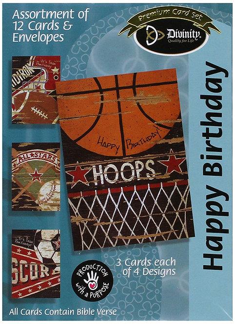 Card Box Birthday Sports 18010N 12 Cards 4 Designs