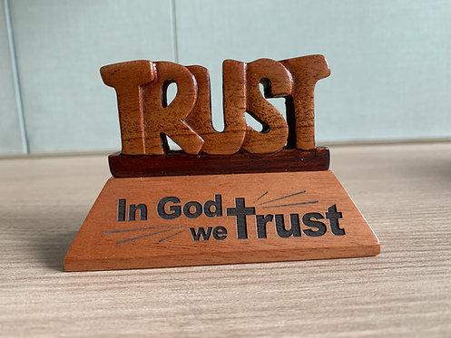 PLAQUE TRUST IN GOD GW-633 WOOD