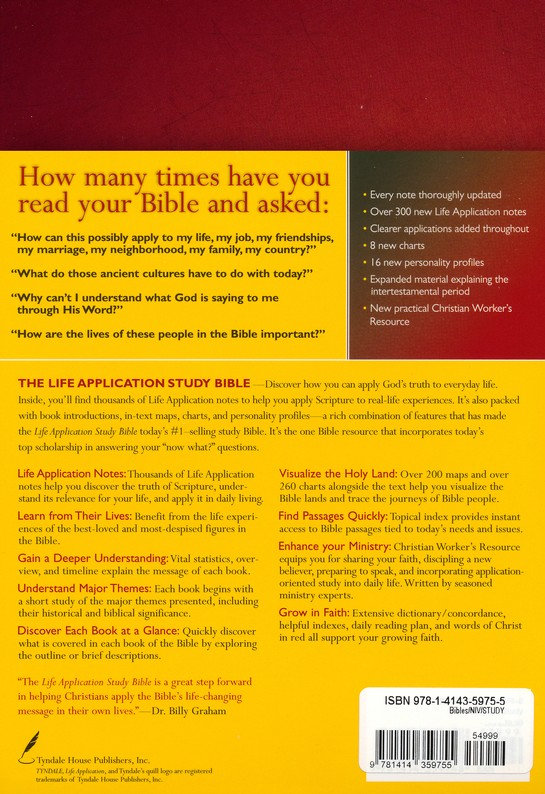 NIV Life Application Study 755 Bible Index HC