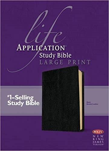 BIBLE NKJV LIFE APPLICATION STUDY LARGE Font985 BLACK BONDED 11 PT RL