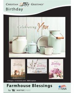 CARD BOX BIRTHDAY POTS G1140 12 CARDS 4 DESIGNS