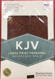 KJV LARGE PERSONAL BROWN LEATHERTOUCH RL 12 PT REF
