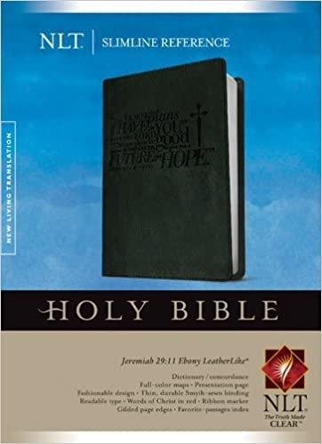 BIBLE NLT SLIMLINE REF 682 GREY LEATHERLIKE 8 PT RL