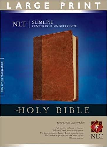BIBLE NLT SLIMLINE LARGE REF 491 BROWN LEATHERLIKE 10 PT CENTER COLUMN RL
