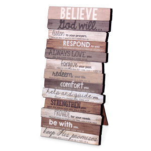 Plaque Table Believe Stacked 45018
