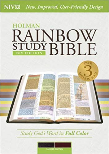 BIBLE NIV RAINBOW STUDY 556 Brown Leathertouch CENTER COLUMN 10 PT
