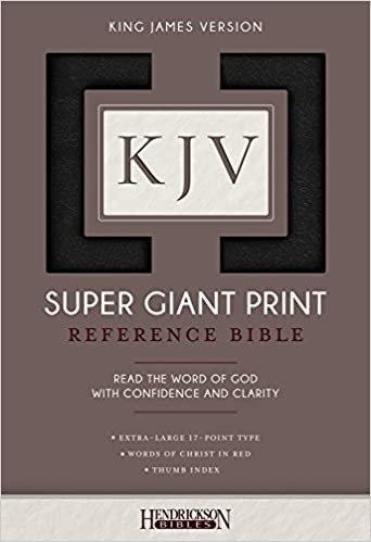 KJV SUPER GIANT INDEX REF BLACK IMITATION 17 PT RL B70207