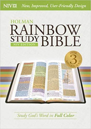 BIBLE NIV RAINBOW STUDY INDEX 549 Hard Cover CENTER  COLUMN 10 PT UNDERLINED GOD