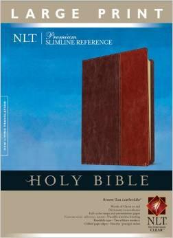 NLT Large Print 317 Index Slimline Bible Brown 317