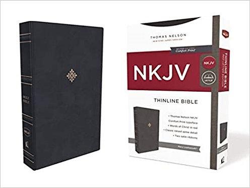 NKJV THINLINE INDEX NAVY LEATHERSOFT  RL 9 PT ROSE SIDE