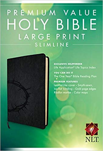 BIBLE NLT PREMIUM SLIMLINE LARGE Font 871 Black Leatherlike 9.5 PT