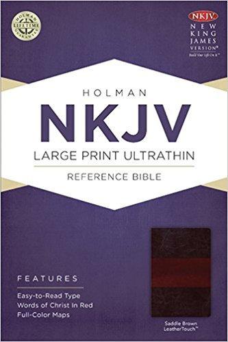 NKJV Ultrathin Large 996 Center column Brown Leathertouch
