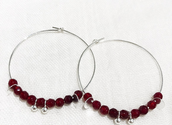 sterling silver creole earrings grenat red fine stone love tendance fashion