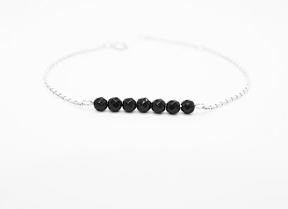 bracelet sterling silver black agate courage stone gemstone jewelry woman women gift love