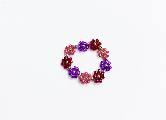 bague COURONNE de fleurs en perles rose