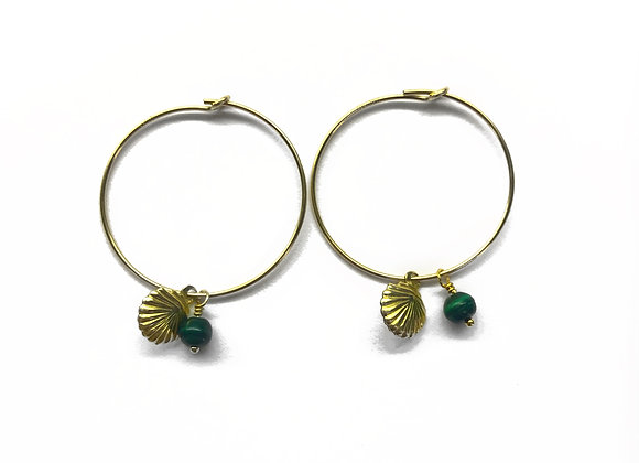 creole earrings gold filled gold malachite lithotherapy shell charm woman gift