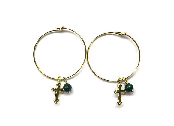 creole filled gold 14k 14 carats charm cross semi precious stone malachite green stone lithotherapy elegant bijoux earrings