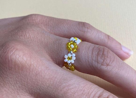 bague COURONNE de fleurs en perles jaune