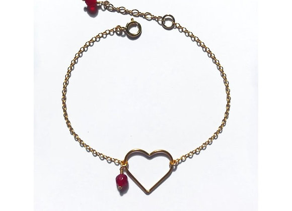 bracelet gold filled garnet stone semi precious spiritual heart minimalist jewelry