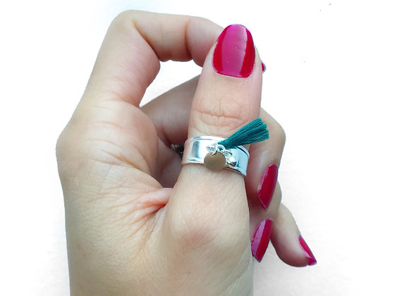 ring tassel green red nail polish mini charms sterling silver ajustable ring woman gift