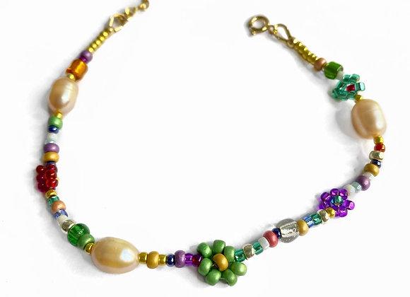 bracelet fleur vert et doré