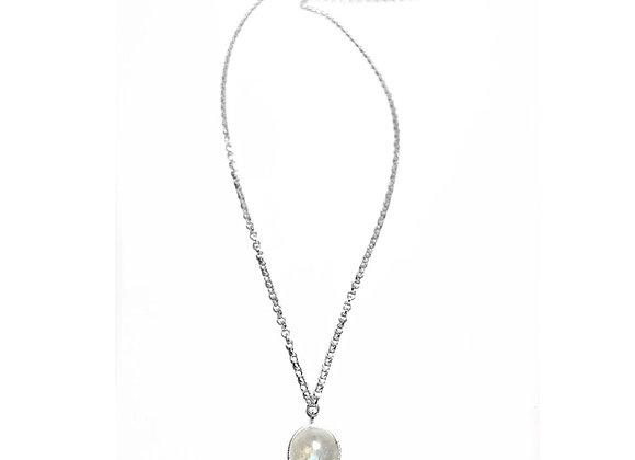 collier argent pierre Lune MARIE