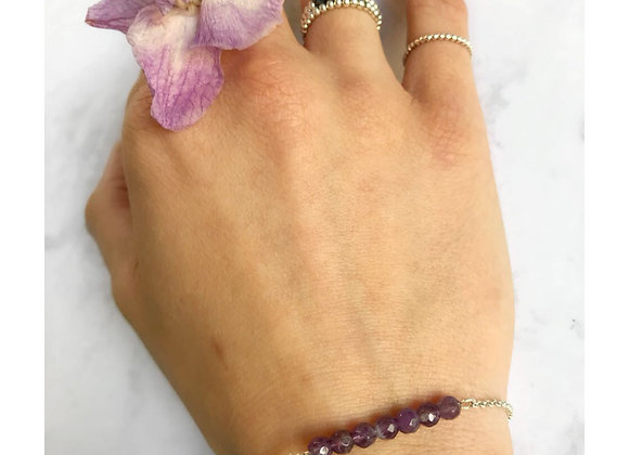 bracelet sterling silver amethyst gemstone jewelry woman women gift love lithotherapy