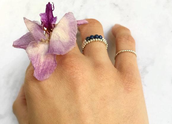 lapis lazuli gemstone ring sterling silver flower pink love gift woman
