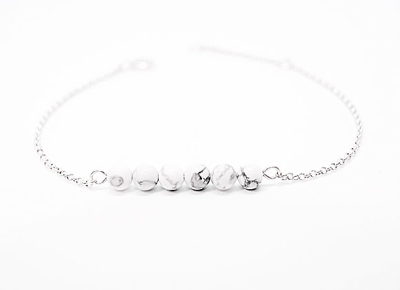 bracelet sterling silver howlite calm and peace stone jewelry woman women gift friend