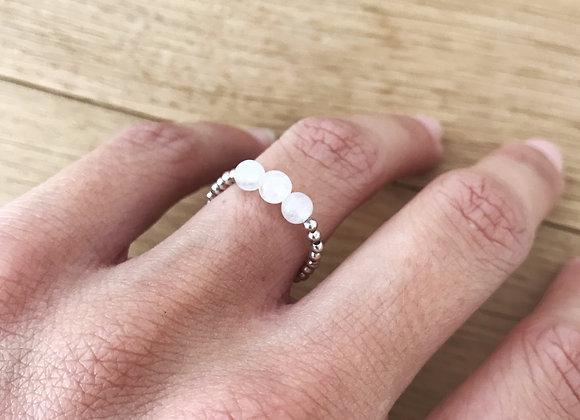 woman model jewelry sterling silver ring pink quartz gemstone of love