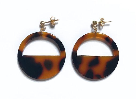 bo boucles d'oreilles leopard demi lune demi cercle en resine doré à l'or fin 14 carats argent 925 originale