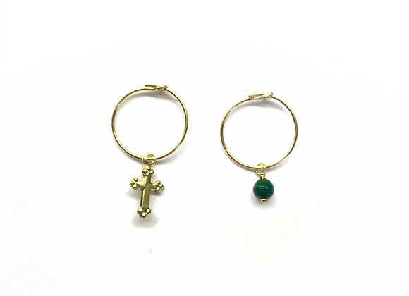 creole filled gold 14k 14 carats charm cross semi precious stone lithotherapy elegant bijoux earrings