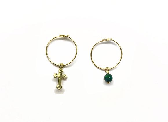 creole or dore a l'or fin 14k 14 carats croix pierre fine malachite lithotherapie elegant bijoux boucles d'oreilles