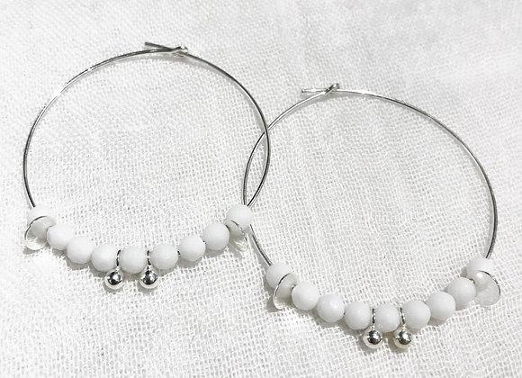 sterling silver creole earrings white agate fine stone love tendance fashion