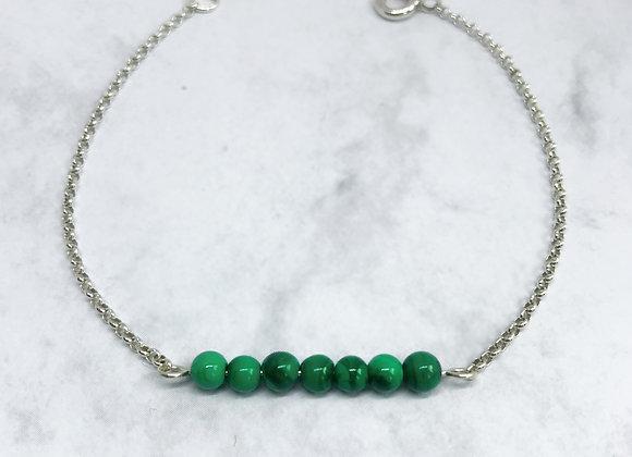 bracelet sterling silver malachite gemstone strong lithotherapy jewelry woman women gift love