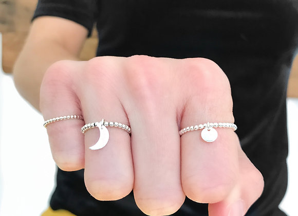 ring half moon sterling silver beads full moon lover girlfriend gift