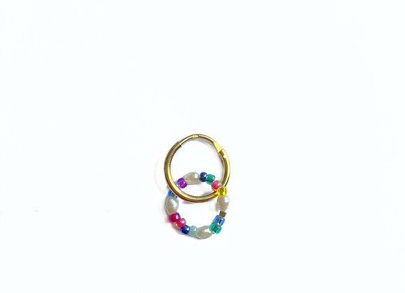 créole RAINBOW anneau de perles multicouleur en plaqué or