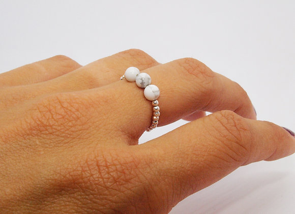 ring howlite marble sterling silver gift woman