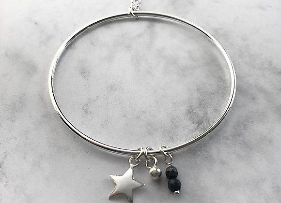 collier long sautoir en argent 925 massif etoile pierre fine lapis lazuli protection cercle de l'amour cadeaux