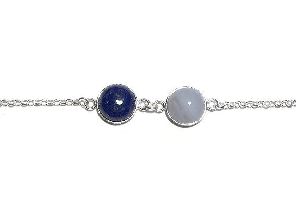 bracelet MARIE lapis lazuli & agate blue