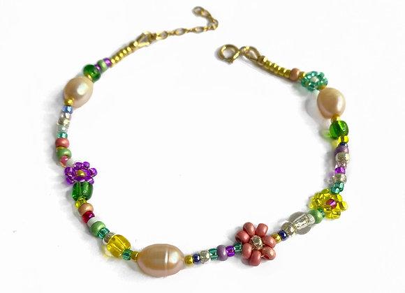 bracelet FLEURS rose et perles