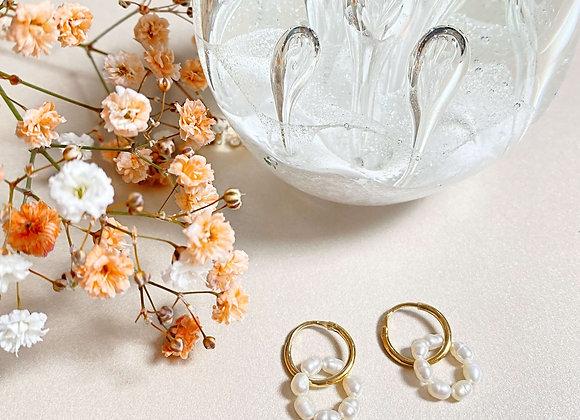 créole BELLE anneau de perles d'eau douce finition en plaqué or