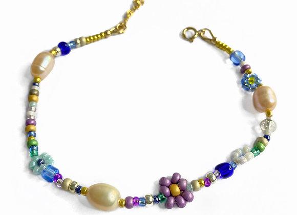 bracelet lilas violet fleur bijou plaqué or