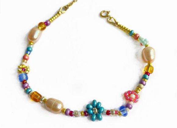 bracelet fleur bleu turquoise et doré bijou femme
